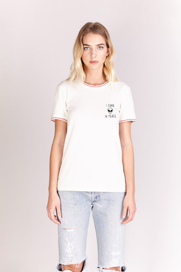 T-shirt bords côtes rayés - I Come In Peace - Blanc