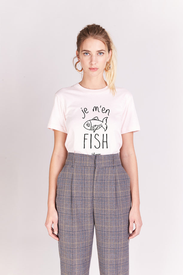 T-shirt Boyfriend - Je M'en Fish - Rose poudré