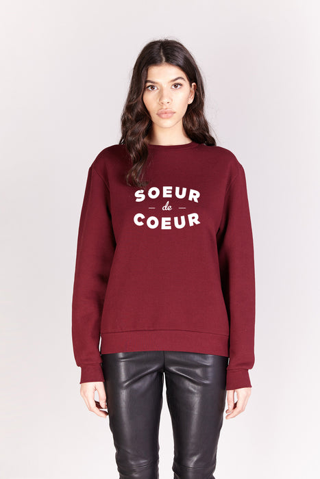 Sweat-shirt - Soeur De Coeur - Bordeaux