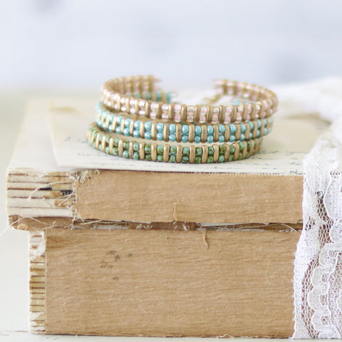3 stacking seed bead bracelets