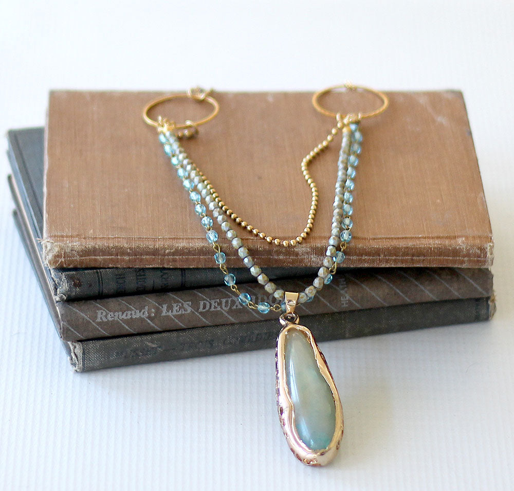 Triple strand blue green pendant 6