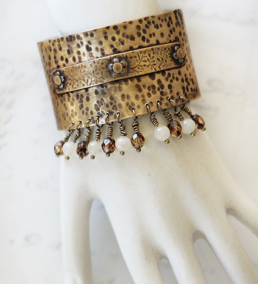 Beaded brass cuff 1a