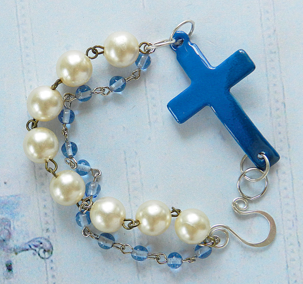 Blue enamel cross 3