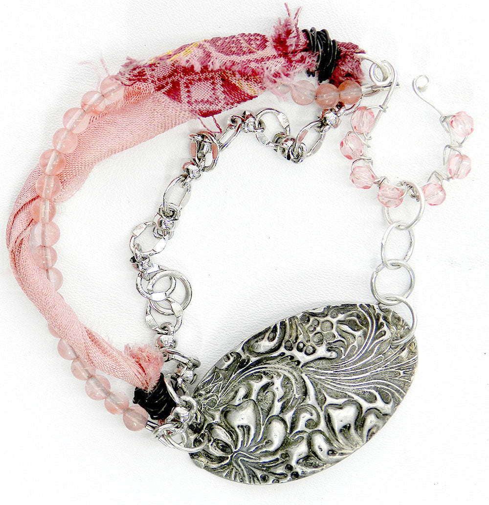 Boho chic textured silver and pink double strand bracelet 1a