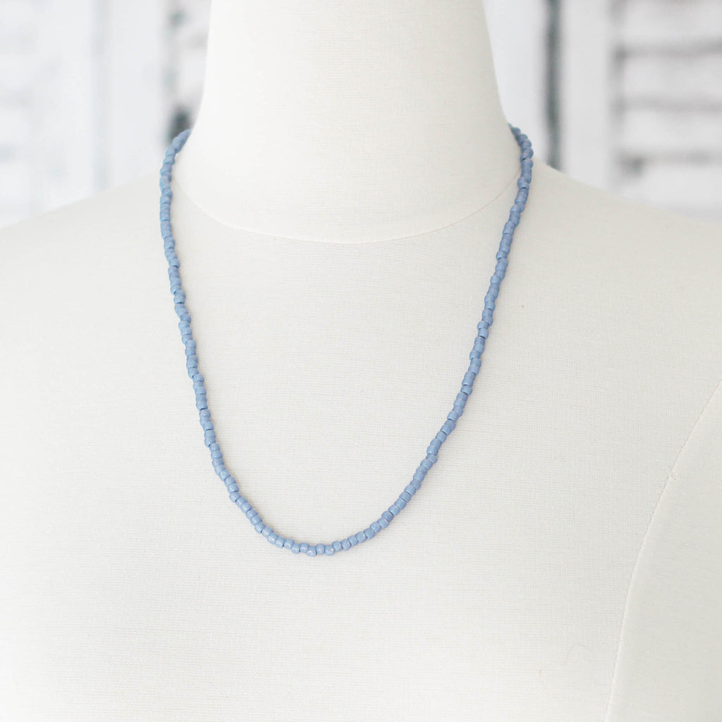 Montana Blue Seed Bead Bracelet Wrap Convert to Necklace worn as necklace on mannequin