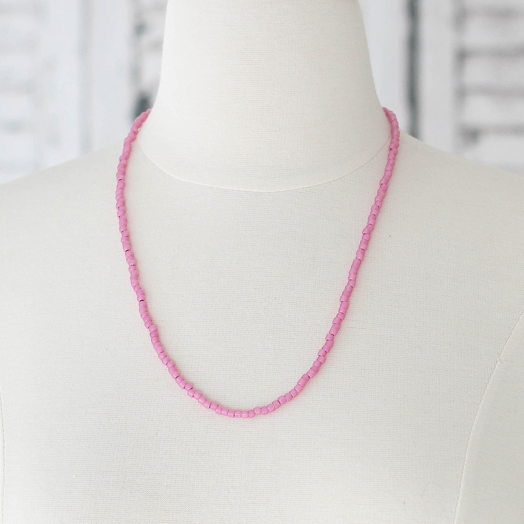 Hot Pink Seed Bead Bracelet  Wrap or Necklace on mannequin