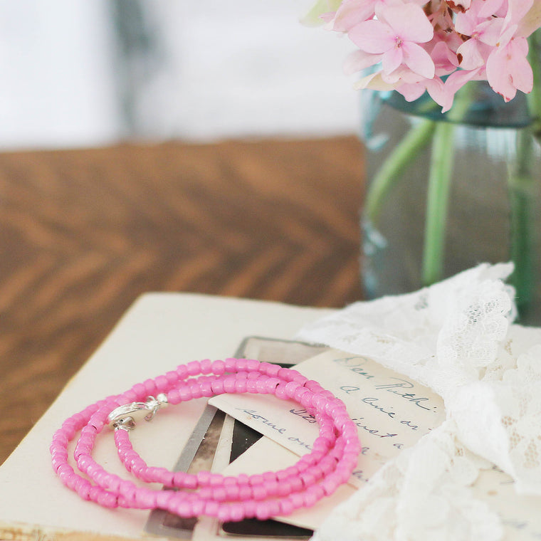 Hot Pink Seed Bead Bracelet  Wrap or Necklace