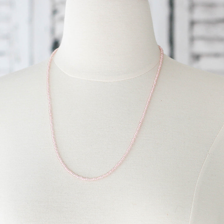 Soft Pink Seed Bead Bracelet Wrap or Necklace