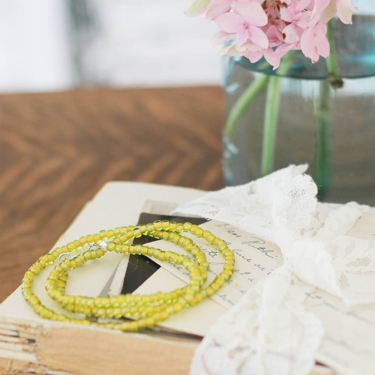 Jonquil Yellow Seed Bead Bracelet Wrap Converts to Necklace