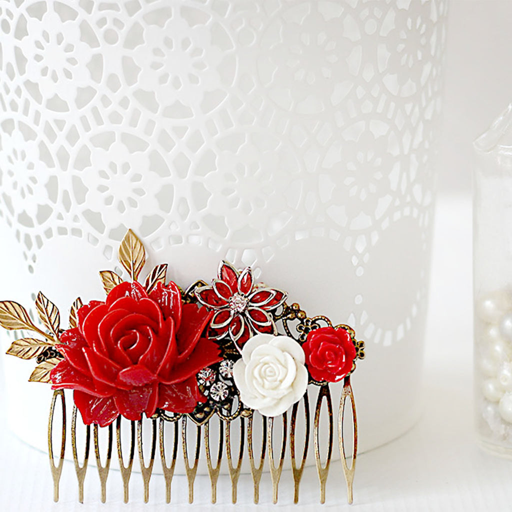 Decorative Hair Comb Red Rose Bouquet