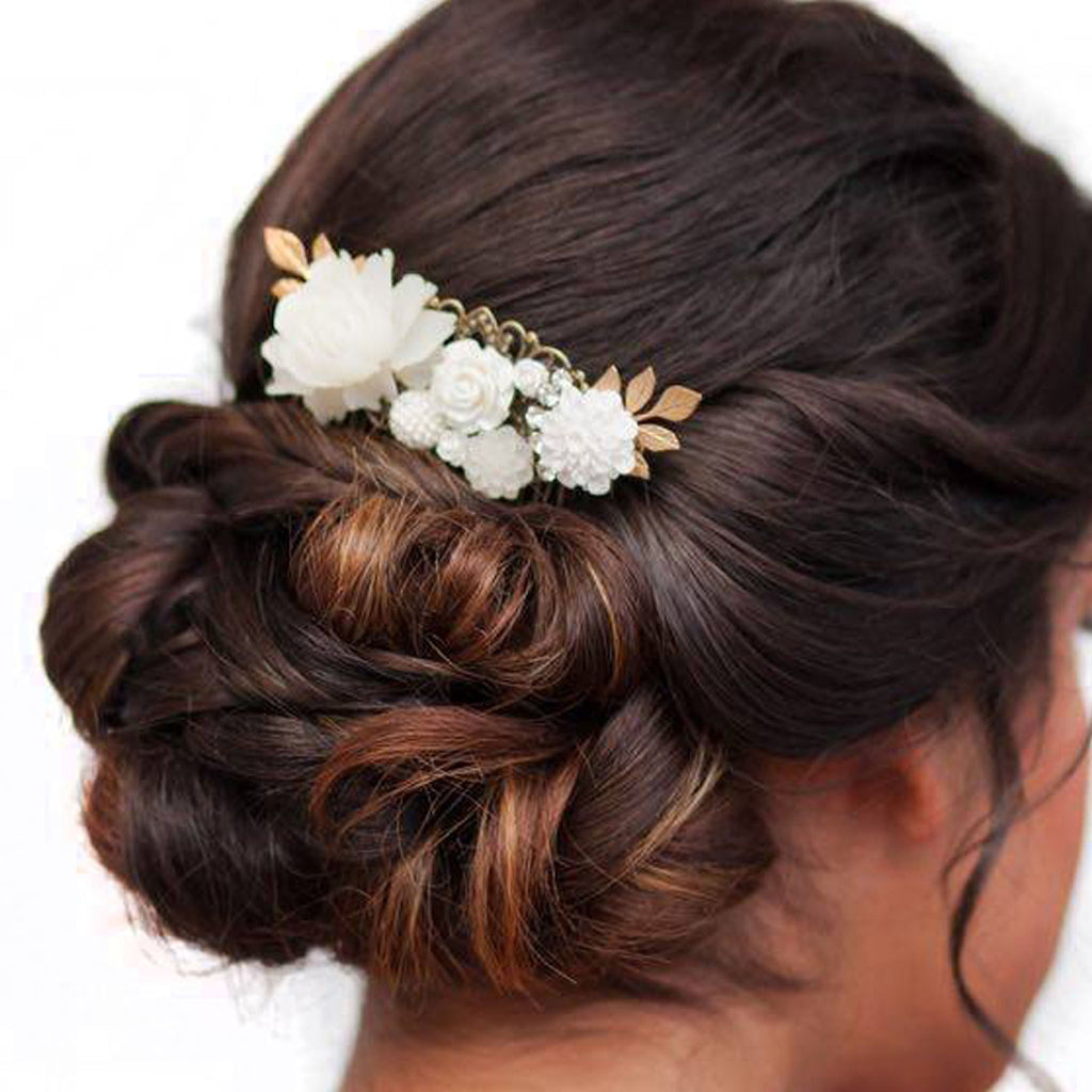 Decorative Hair Comb Pink and Cream Florals with Bird modeled in updo