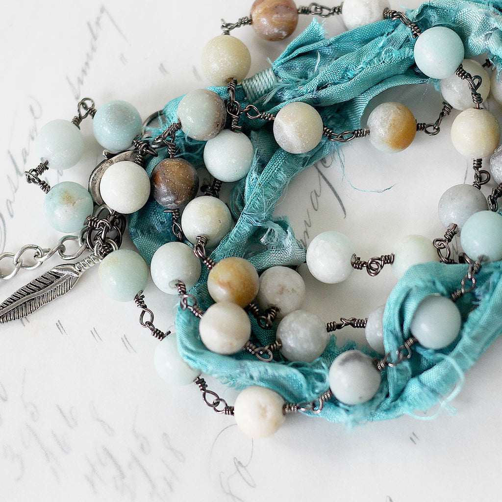 Boho Wrap Around Bracelet Turquoise close up