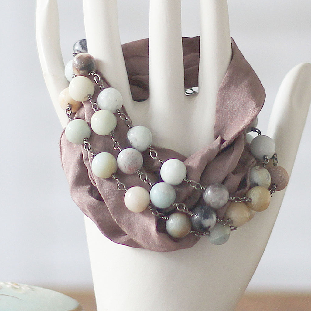 Cocoa Bracelet Wrap with Amazonite Beaded Chain and Sari Silk close