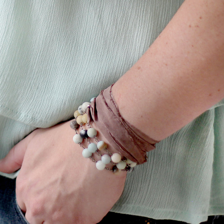 Boho Bracelet Wrap with Amazonite Beaded Chain and Sari Silk