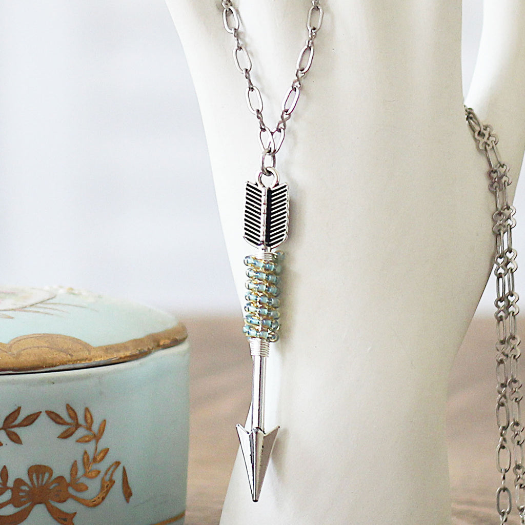 Beaded Arrow Necklace Silver and Seafoam close