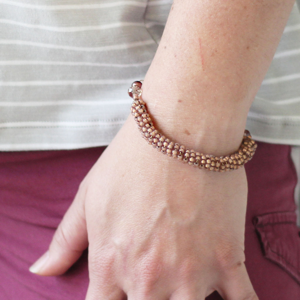 Rose Gold Seed Bead Bracelet modeled
