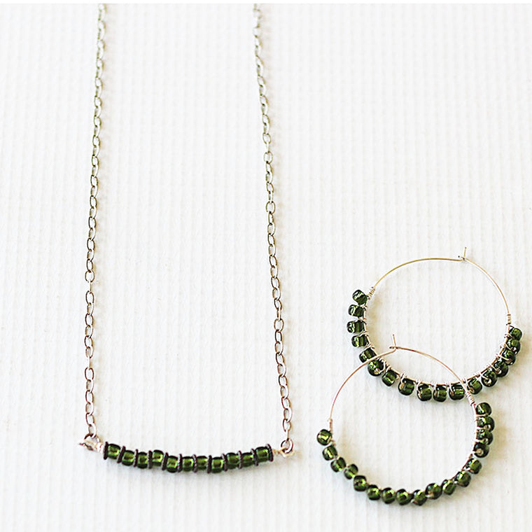 Beaded Minimalist Jewelry Set Necklace and Earrings Green and Silver