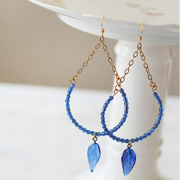 Lapis Blue Beaded Earring Hoops with leaves close up