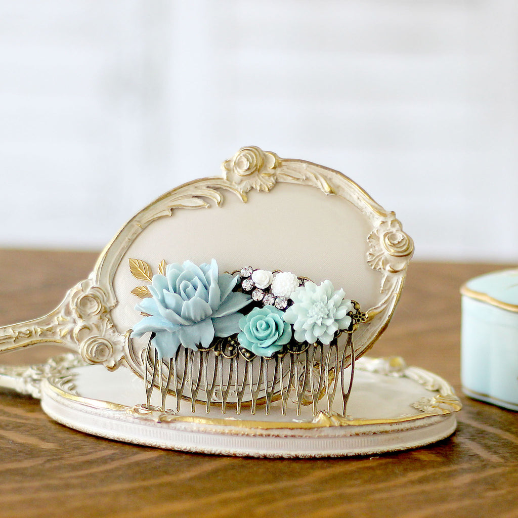 Decorative Hair Comb Soft Blues and Green Florals on dresser