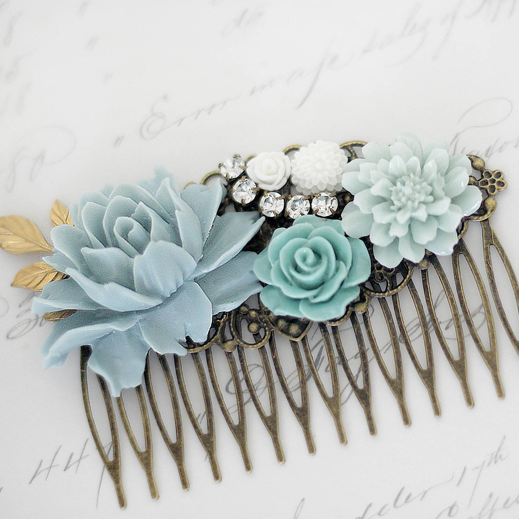 Decorative Hair Comb Soft Blues and Green Florals close up