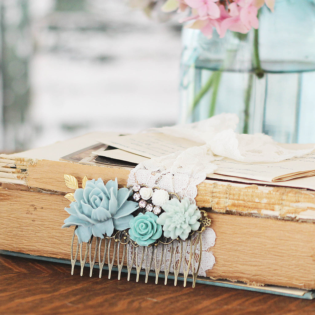 Decorative Hair Comb Soft Blues and Green Florals with vintage books