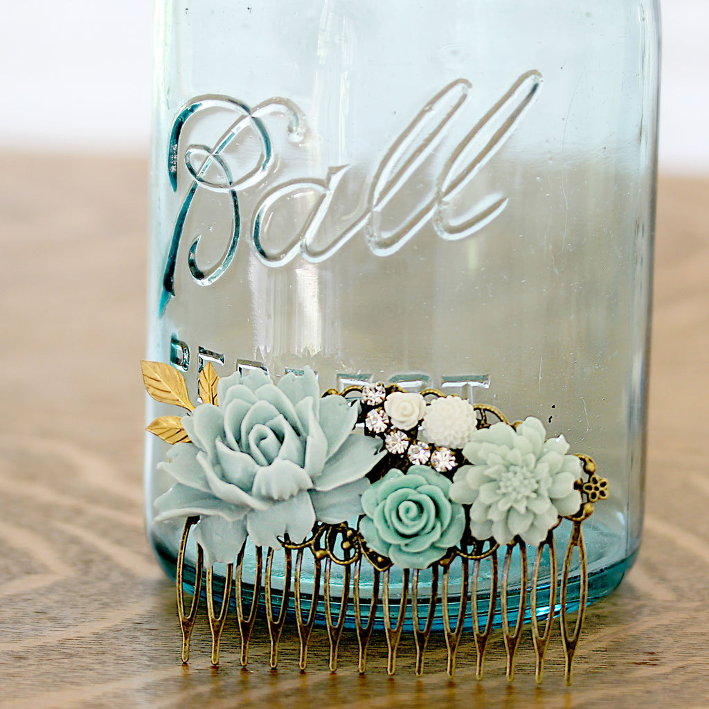 Decorative Hair Comb Soft Blues and Green Florals with mason jar