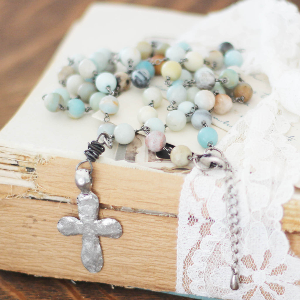 Amazonite Long Boho Necklace with Silver Cross close up