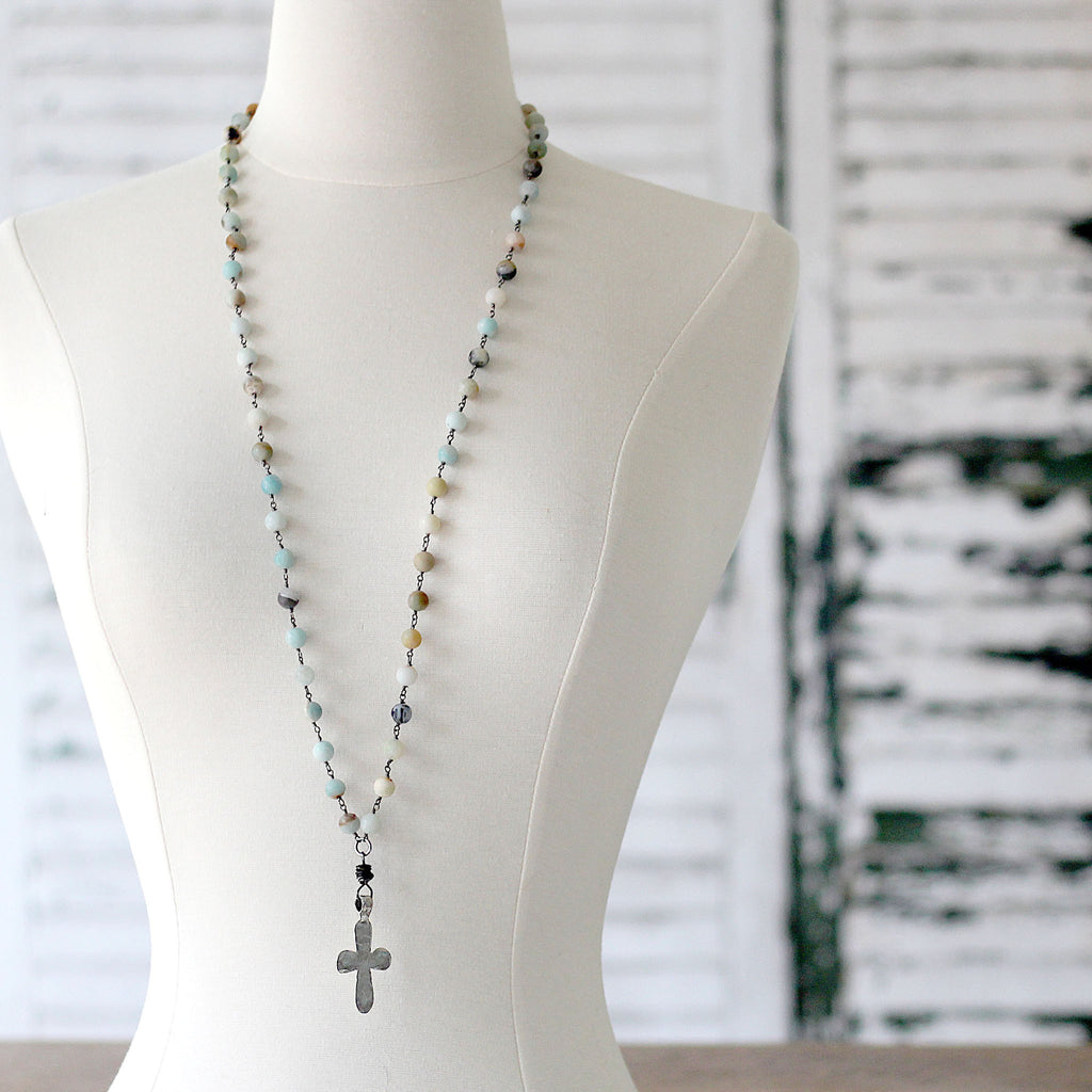 Amazonite Long Boho Necklace with Silver Cross long on mannequin