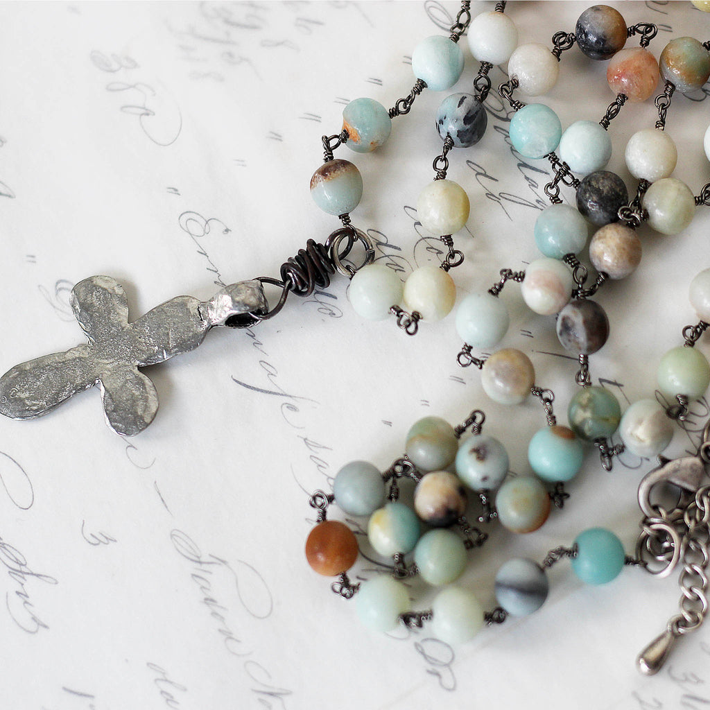 Amazonite Long Boho Necklace with Silver Cross close details