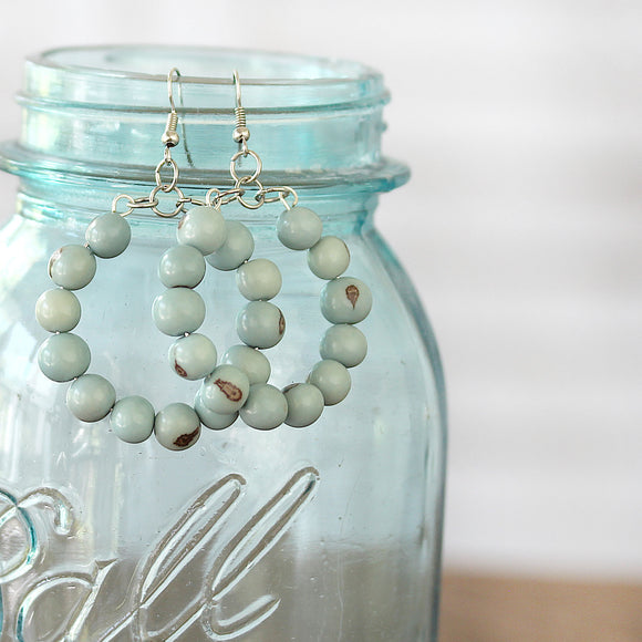Boho Earrings Seafoam Beaded Hoops close