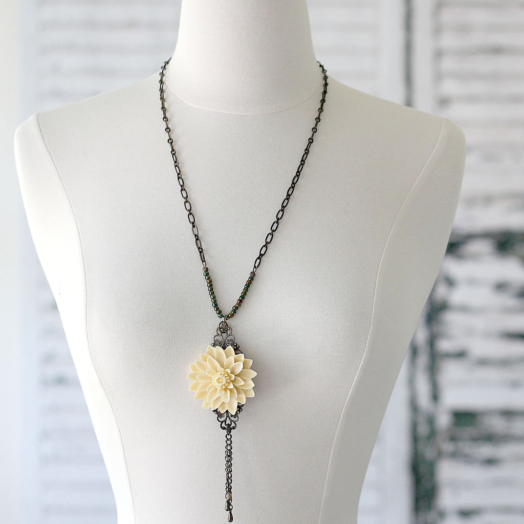 Cream Floral Boho Necklace with Chain Tassel front view on mannequin