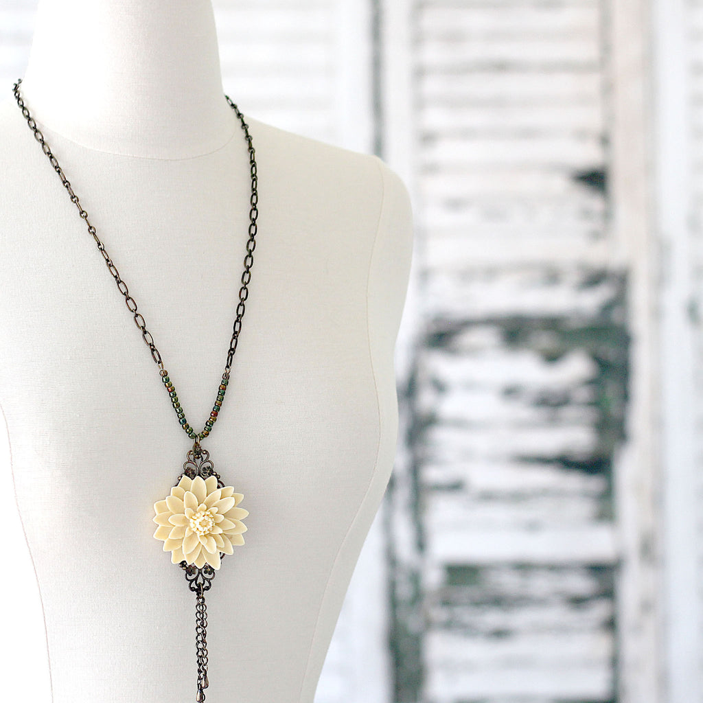 Cream Floral Boho Necklace with Chain Tassel posed right