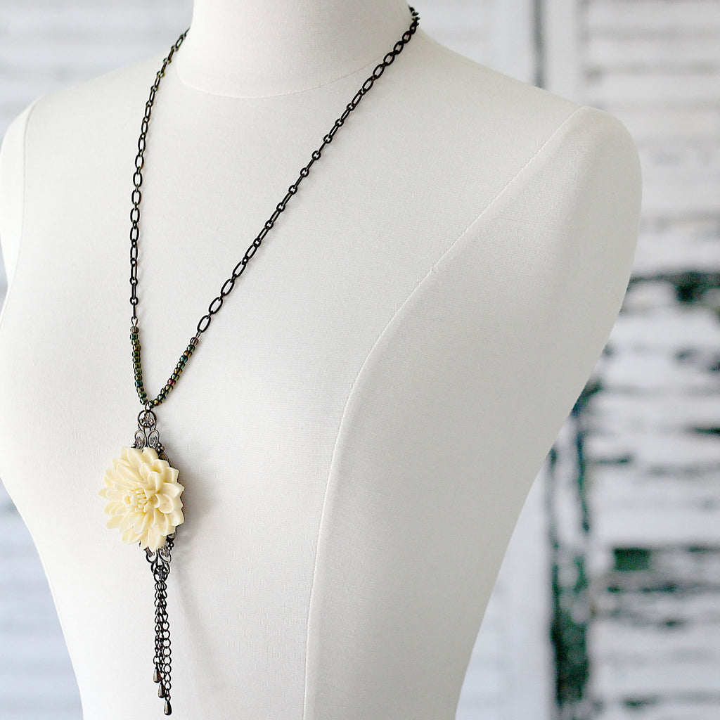Cream Floral Boho Necklace with Chain Tassel posed left