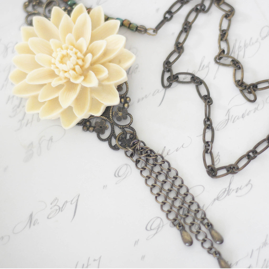 Cream Floral Boho Necklace with Chain Tassel close up