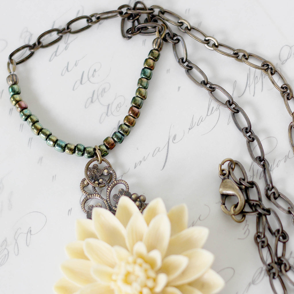 Cream Floral Boho Necklace with Chain Tassel close up of chain