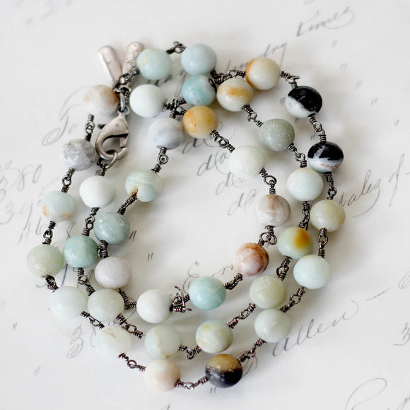 Amazonite Beaded Wrap Bracelet modeled