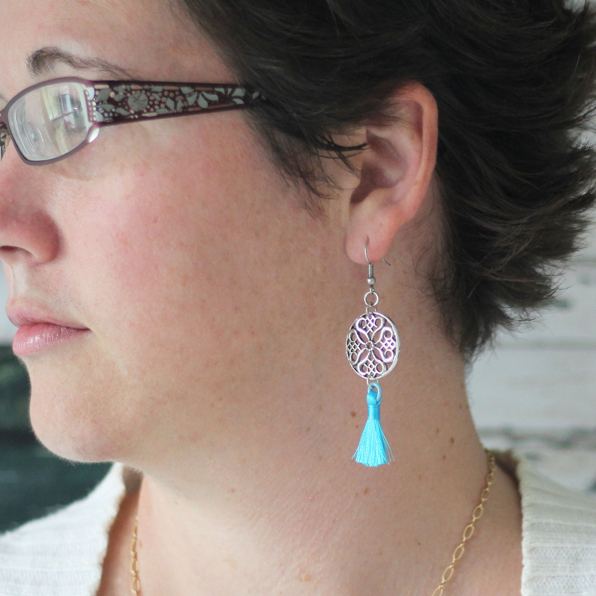 Silver Filigree Earrings with Turquoise Tassel