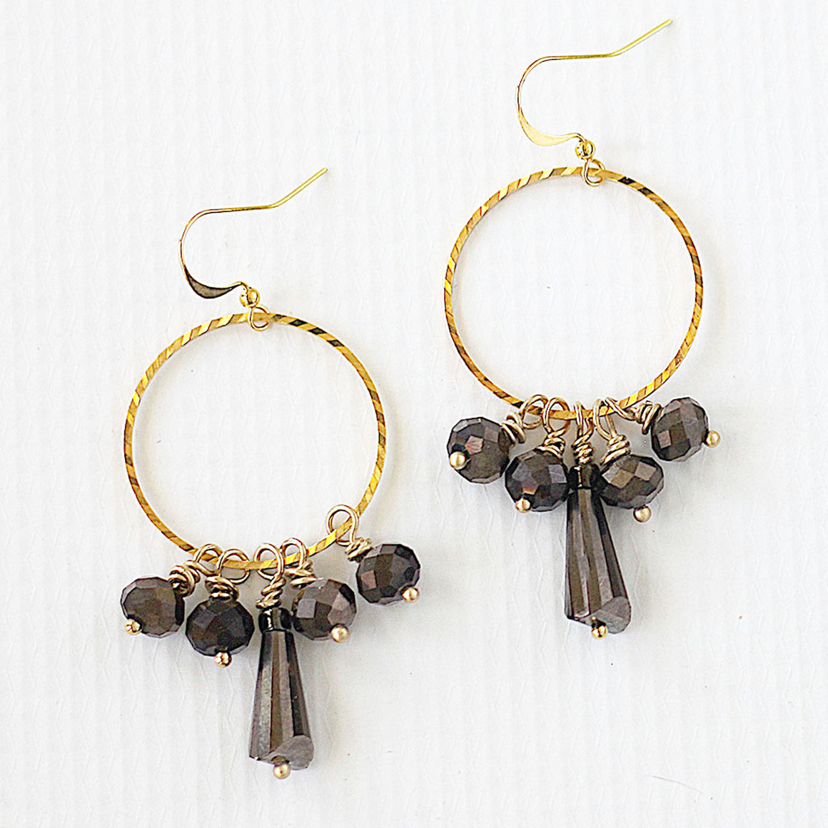 Earthy Chocolate Brown Cluster Earrings close up