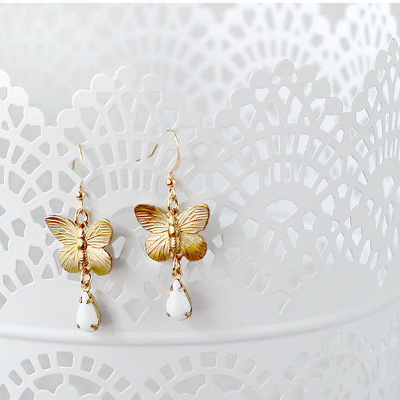 Butterfly Earrings White Vintage Teardrop Dangle close up
