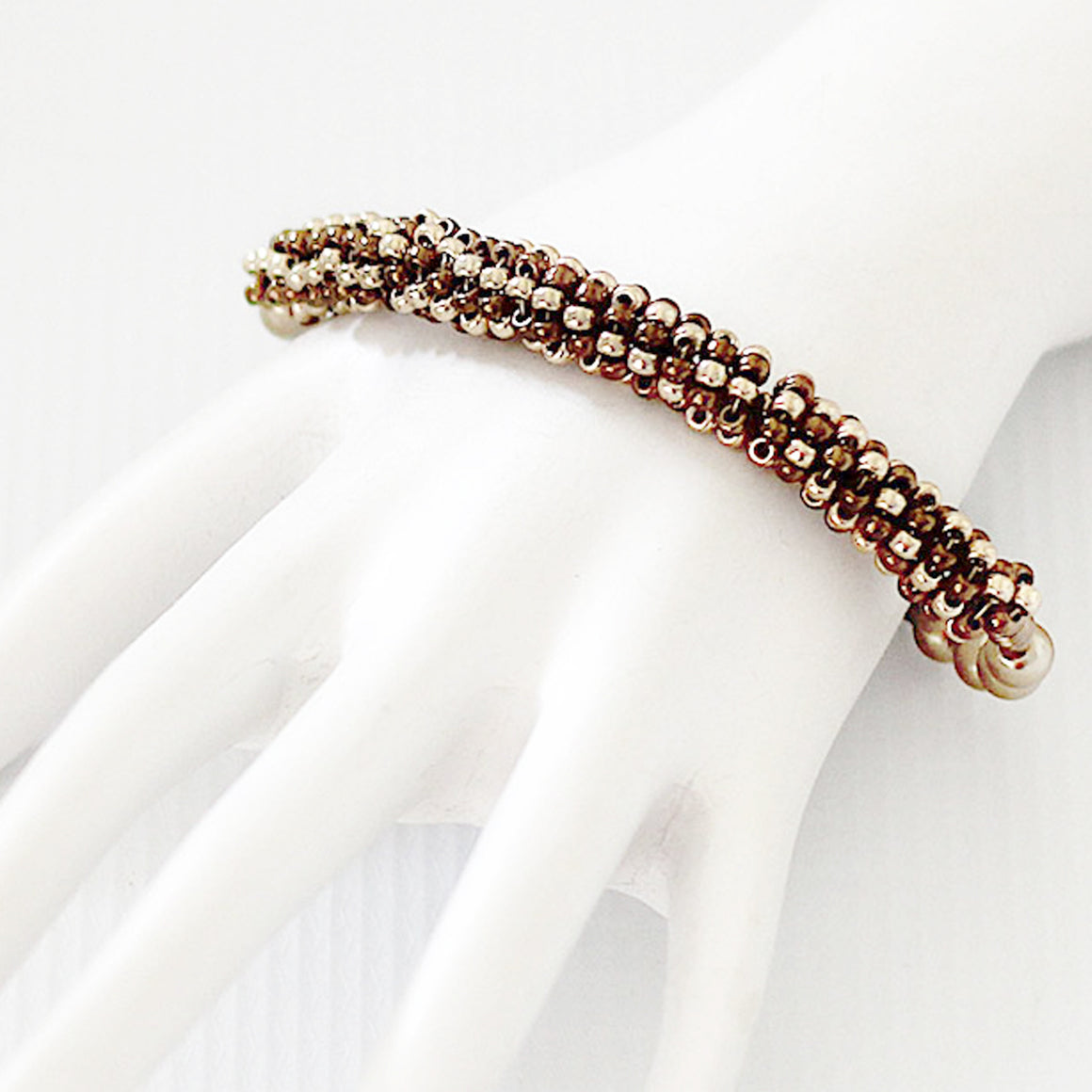 Gold and Bronze Seed Bead Bracelet