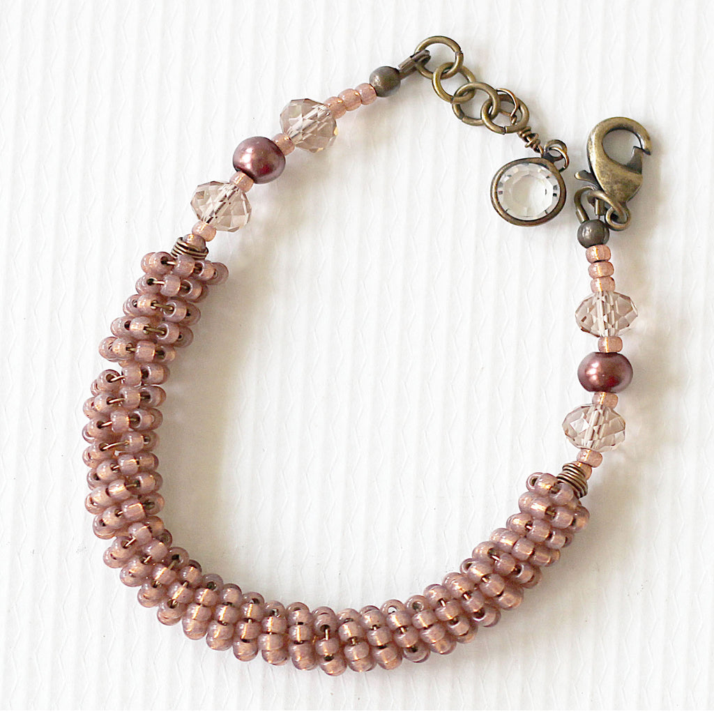 Rose Gold Seed Bead Bracelet close