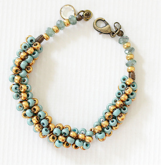 Seafoam and Gold Seed Bead Bracelet