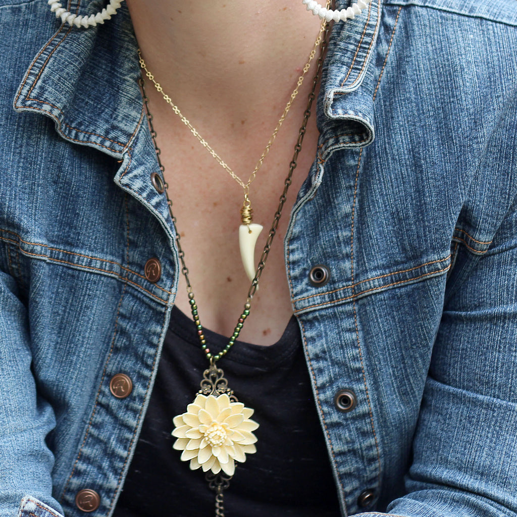 Cream Floral Boho Necklace with Chain Tassel modeled