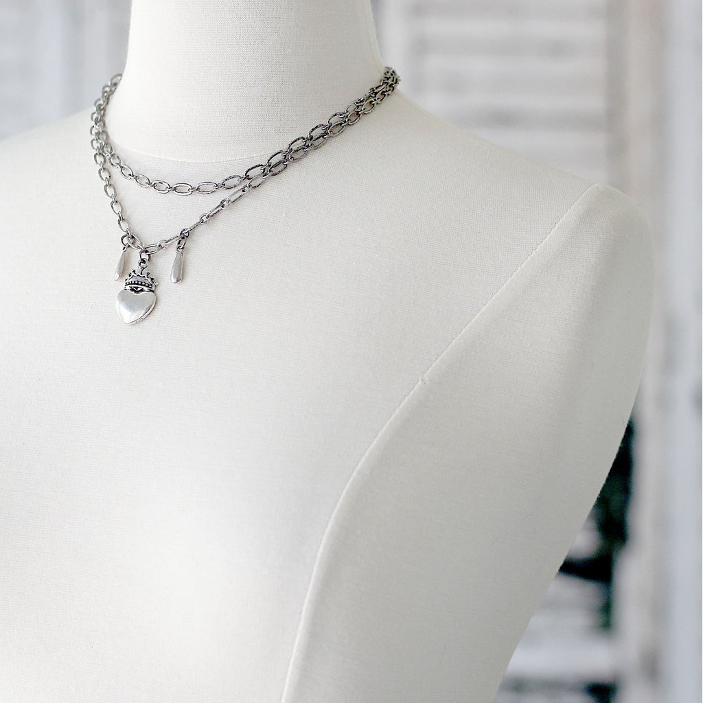 Double Layered Choker Necklace facing left
