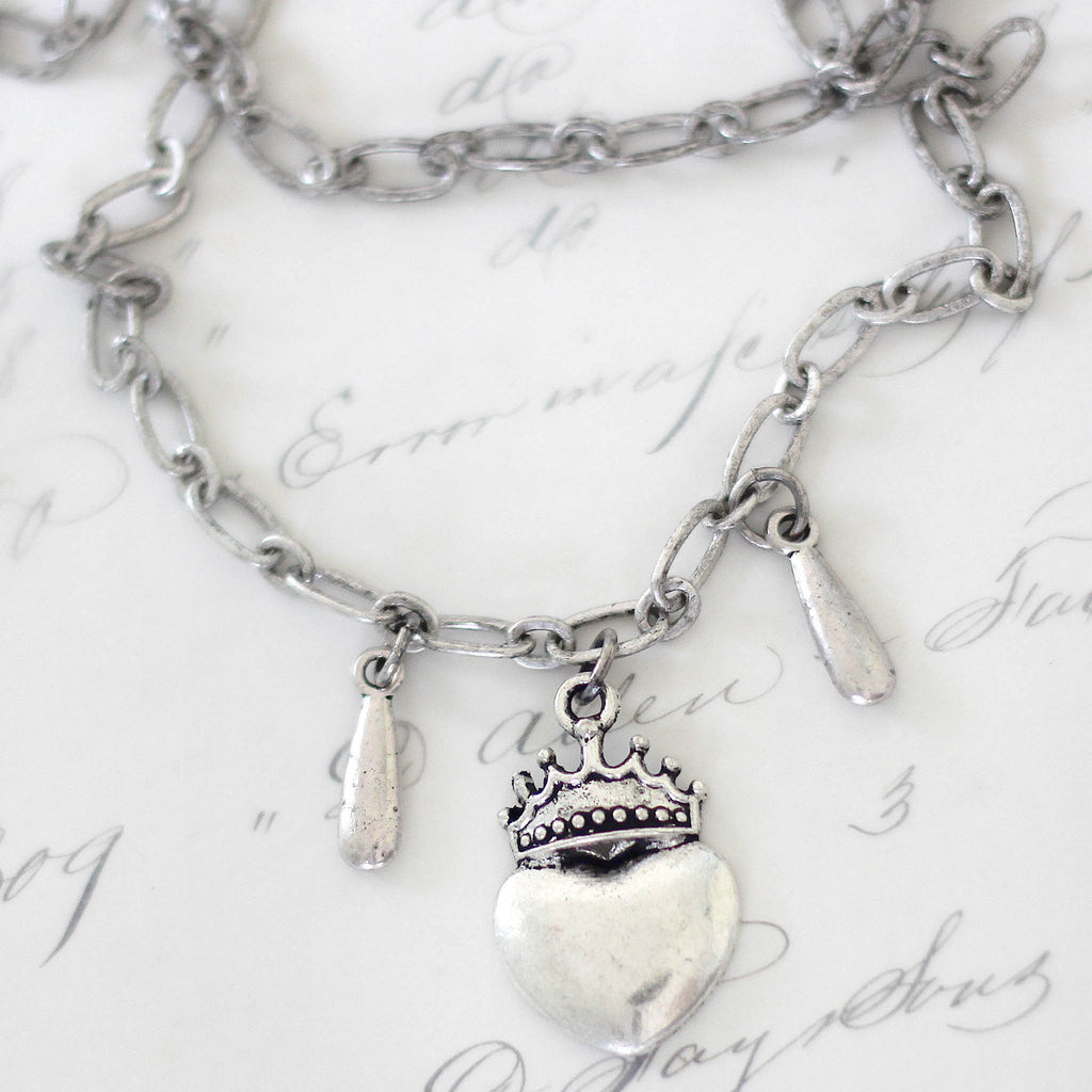 Silver Crowned Heart Double Layered Choker Necklace Close Up