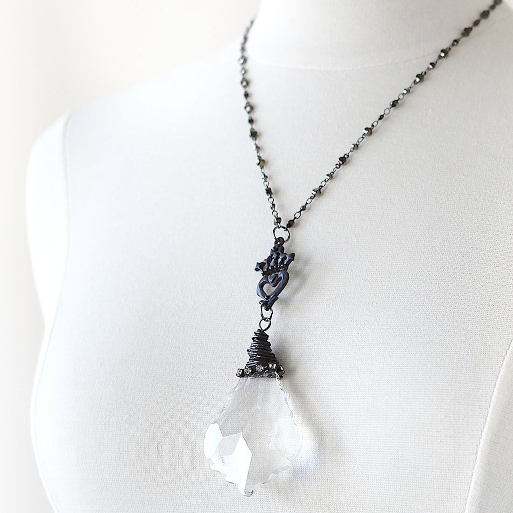 Chandelier Crystal Pendant Necklace Vintage Inspired - Shabby ...