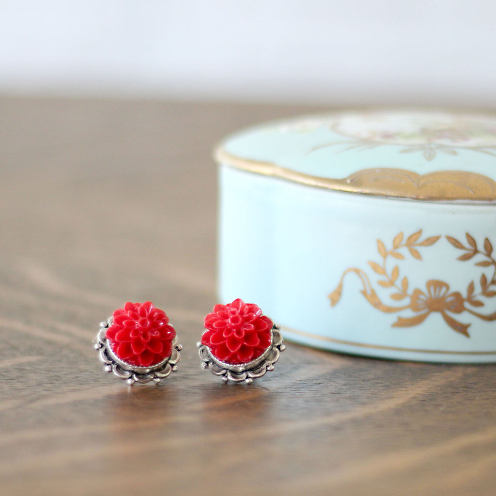 Dahlia Post Earrings Sassy Red on dresser