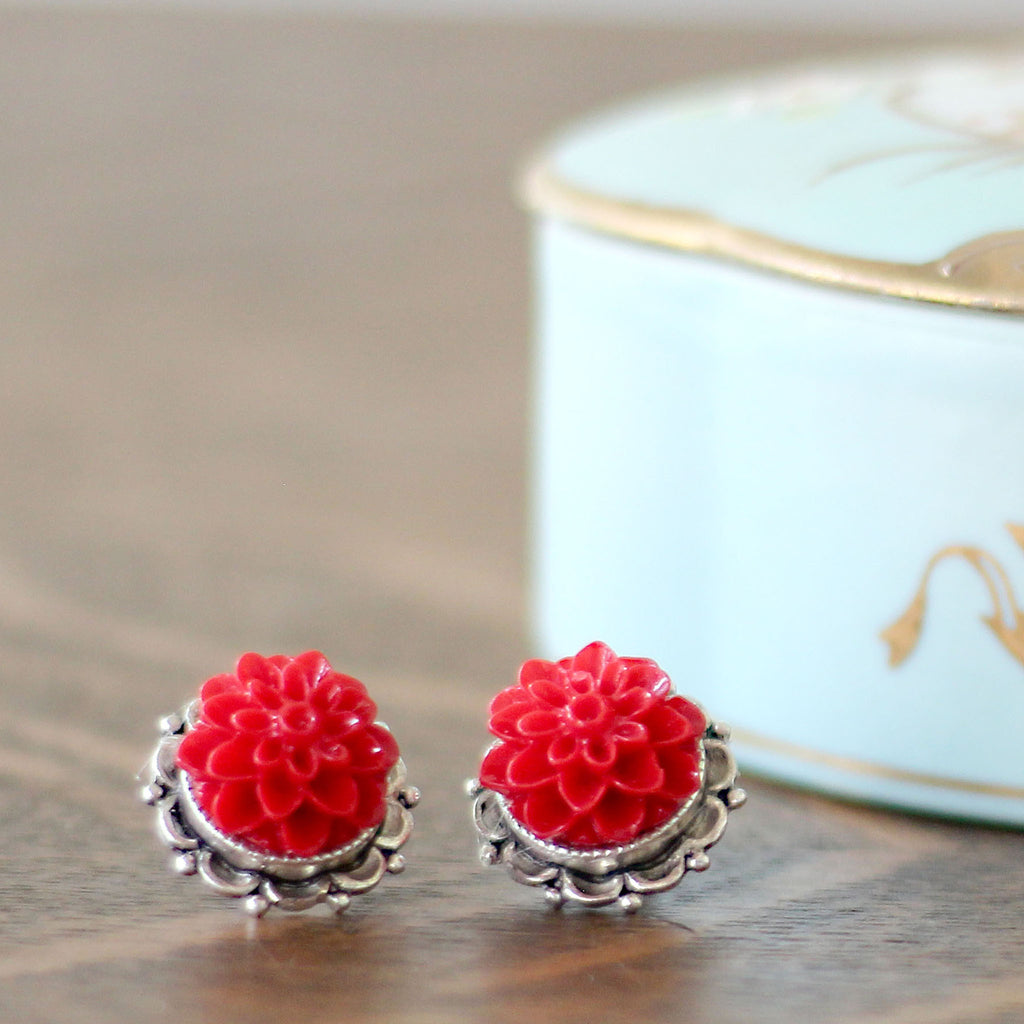 Dahlia Post Earrings Sassy Red close up