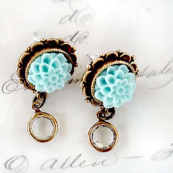 Dahlia Flower Earrings with Crystal Dangle Aqua