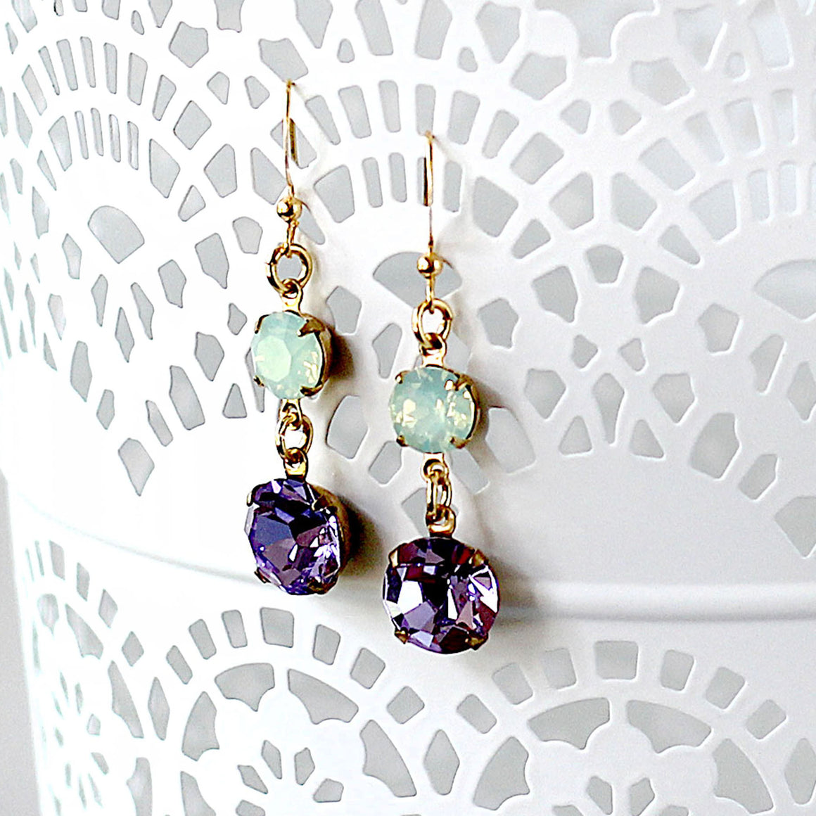 Pale Green and Pale Violet Amethyst Rhinestone Earrings Hanging